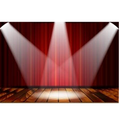 Theatrical scene with red curtains vector