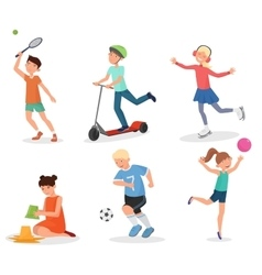 Happy cute school children kids playing and sport vector