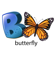 A letter b for butterfly vector