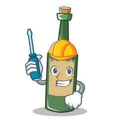 Automotive wine bottle character cartoon vector