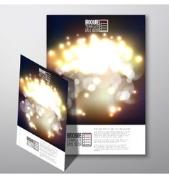 Blurry background with bokeh effect brochure vector