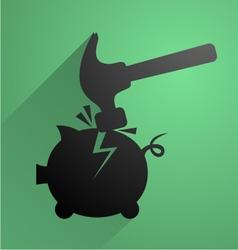 Break piggy bank symbol vector