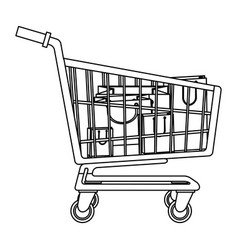 cart shopping paper bag gift commerce outline vector image vector image