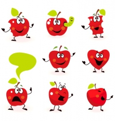 cartoon apple characters vector image vector image