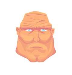 Cartoon brutal man face with blue eyes vector