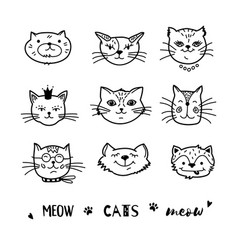 cat doodle hand drawn cats icons collection vector image vector image