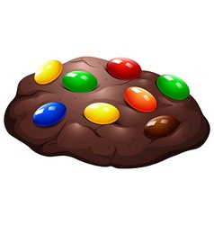 Chocolate chip cookie with candy vector
