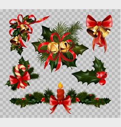 christmas decoration fir wreath bow elements vector image