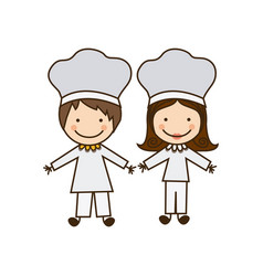 Colorful caricature couple chef costume vector