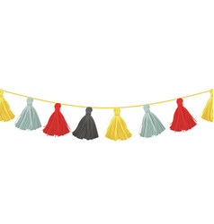 colorful hanging decorative tassels with vector image