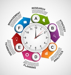 Design infographics clock with arrows in a circle vector image vector image