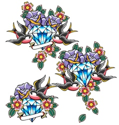 diamond emblem vector image vector image