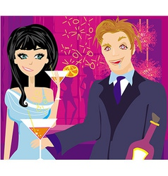 drunk guy talks with a beautiful girl vector image vector image