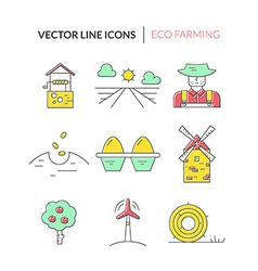 Farm line icons vector