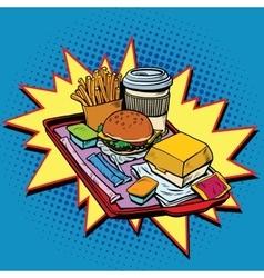 Fast food dinner pop art style vector image