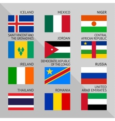 Flags of world flat set number 08 vector