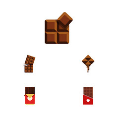 flat icon chocolate set of cocoa wrapper vector image