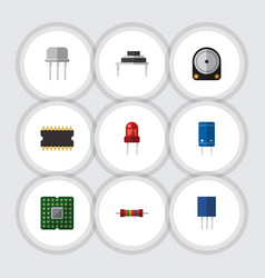 Flat icon technology set of transistor hdd vector