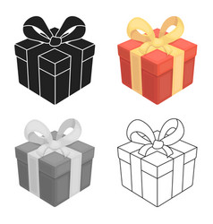 Gift icon in cartoon style isolated on white vector