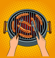 hands grilling sausages on barbecue pop art vector image
