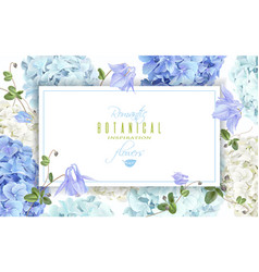 Hydrangea horizontal banner blue vector