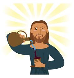 Jesus christ water wine religious symbol vector