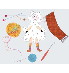 knitted sheep vector image