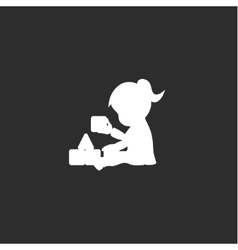 Little girl sits and plays with cubes monochrome vector image