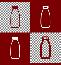 Milk bottle sign bordo and white icons vector