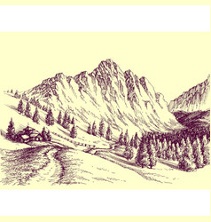 Mountain road alpine scene vector