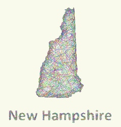New Hampshire line art map vector image vector image