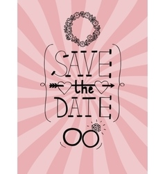 Pink wedding background with words save the date vector