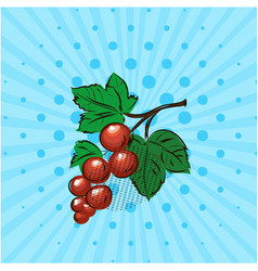 red currant on a blue backgroundlinedots vector image vector image