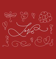 romantic calligraphic elements set vector image vector image