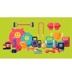 Sports and fitness equipment collection vector