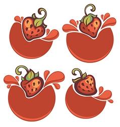 Strawberry stickers vector
