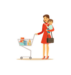 Super mom with child and shopping cart vector