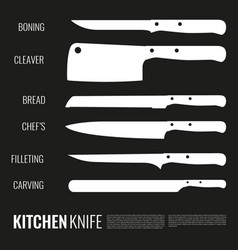 White knives silhouettes set vector
