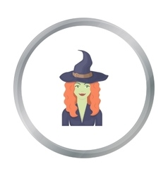 Witch icon in cartoon style isolated on white vector image