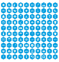 100 summer icons set blue vector