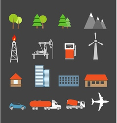 Transport and ecology icons collection vector
