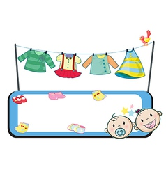 An empty template in front of the hanging clothes vector image