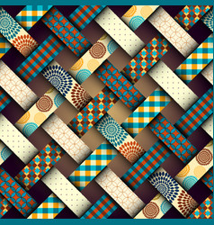 Brown retro patchwork vector