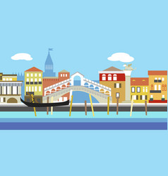 Venice cityscape in simple style style vector