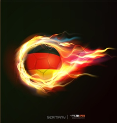 Germany flag with flying soccer ball on fire vector image