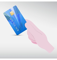 Hand Holding Blue Credit Card vector image