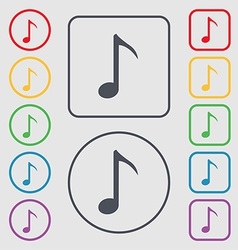 Music note icon sign symbol on the round and vector