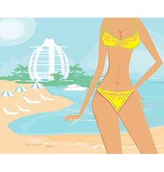 Beautiful girl on a tropical vacation vector