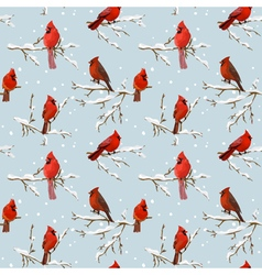 Winter Birds Retro Background - Seamless Pattern vector image