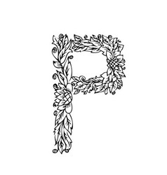 Letters floral p vector